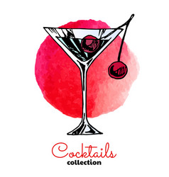 color blue cherry alcohol cocktail drink vector image