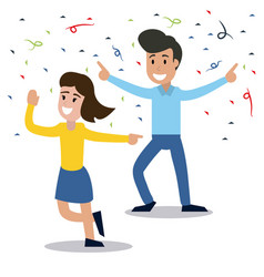 Couple dancing party confetti celebration vector