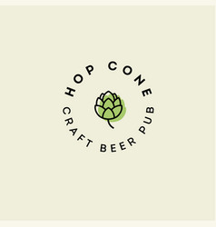 Craft beer pub emblem hop cone logo vector