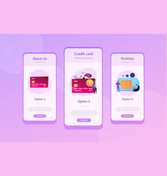 Credit card app interface template vector