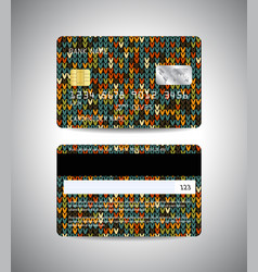 Credit cards christmas knitted background vector