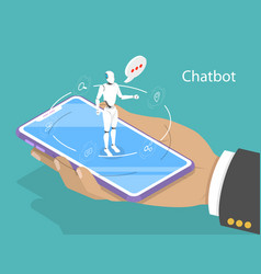 customer support chatbot flat isometric vector image