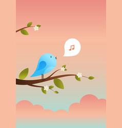 cute bird sings spring card vector image