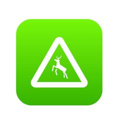 Deer traffic warning sign icon digital green vector