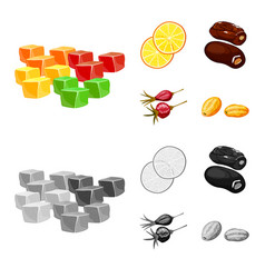 Design of food and raw icon set of food vector