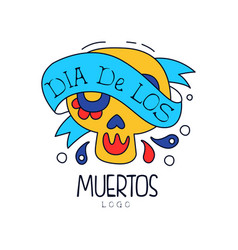 Dia de los muertos logo traditional mexican day vector