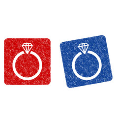 diamond ring grunge textured icon vector image