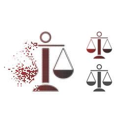 Dissolved pixel halftone scales balance icon vector