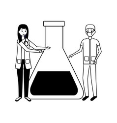 doctor woman and man flask vector image
