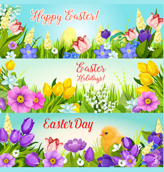 Easter banners paschal egg flowers set vector