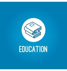 Education logo with pile of book vector image