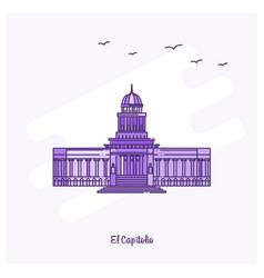 el capitolio landmark purple dotted line skyline vector image