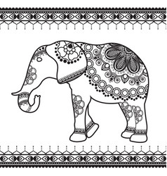 elephant with border elements in ethnic mehndi vector image