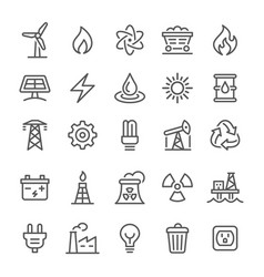 energy icons - line series vector image