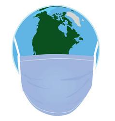 Epidemic mask on world globe vector