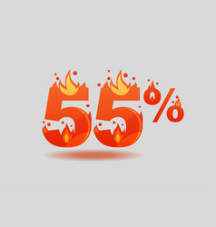 Fifty five percent discount numbers on fire vector