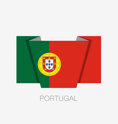Flag of portugal flat icon waving flag with vector