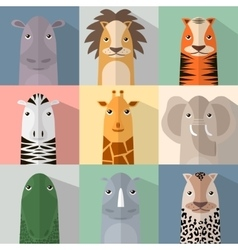 Flat animal icon set with shadow African animals vector image