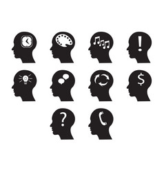 Flat black brain icon set vector