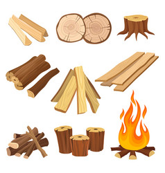 flat set of firewood logs and flame tree vector image