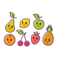 fruits in kawaii style vector image