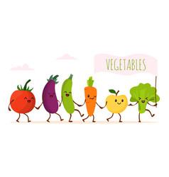 funny cartoon vegetable walking vector image