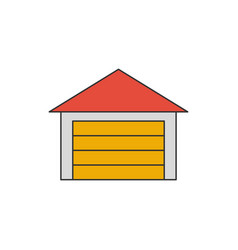 garage flat line icon vector image