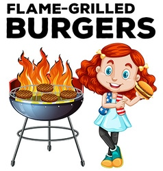 Girl and flame-grilled burgers vector