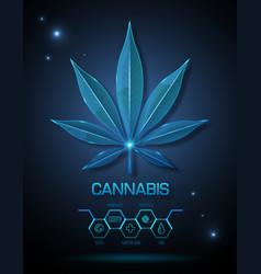 Glass transparent medical cannabis leaf vector