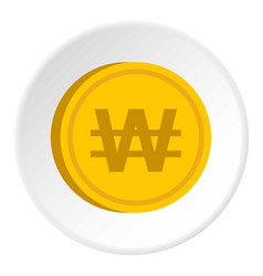 gold coin with won sign icon circle vector image