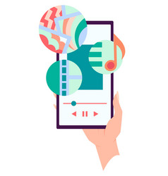 hand holding smartphone with playing music on vector image