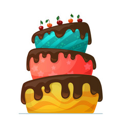 happy birthday cake with chocolate vector image