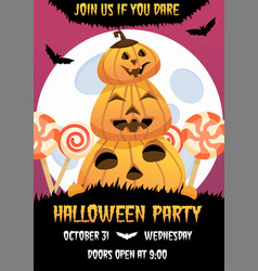 happy halloween invitation poster with vector image
