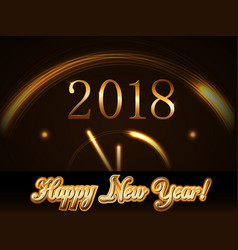 Happy new year background with magic gold clock vector