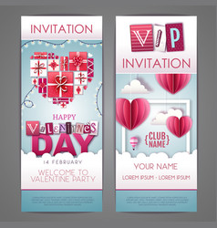 happy valentines day invitation design with love vector image