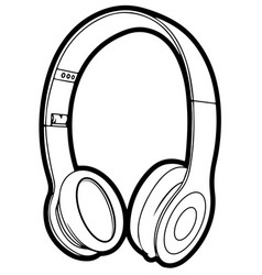 headphone icon line circuit eps 10 vector image