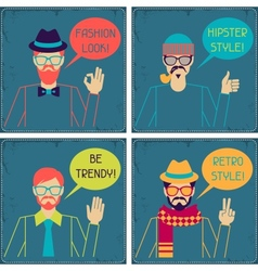 Hipster cards in retro style vector