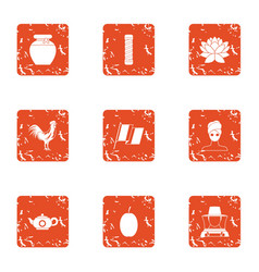 Honey drink icons set grunge style vector