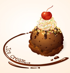Ice cream ball Choc chip vector image
