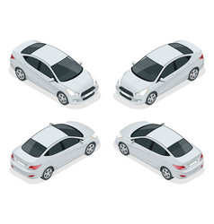 Isometric set of sedan cars compact hybrid vector