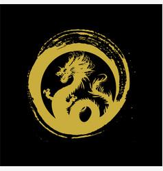 Legendary golden dragon in brush paint japan art vector