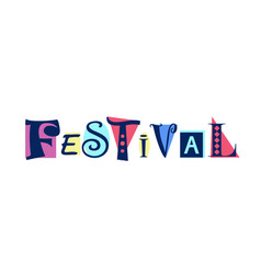 Lettering of festival on colorful shapes vector