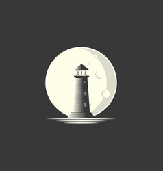 lighthouse with moon logo design vector image