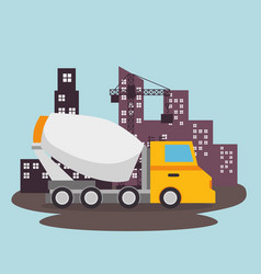 mixer truck under construction vector image