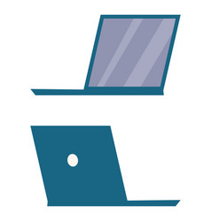 Modern open laptop back and side view icon vector