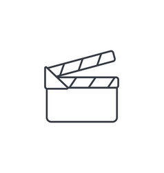 Movie clapperboard thin line icon linear vector
