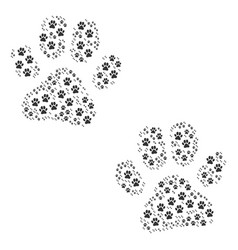 paw footprints icon shape vector image