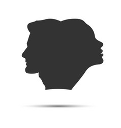 Profile male and female head are joined vector