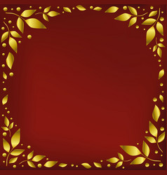 Red background with golden leaves in circle vector