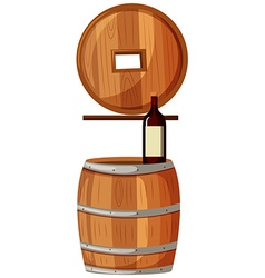 Red wine and wooden barrels vector